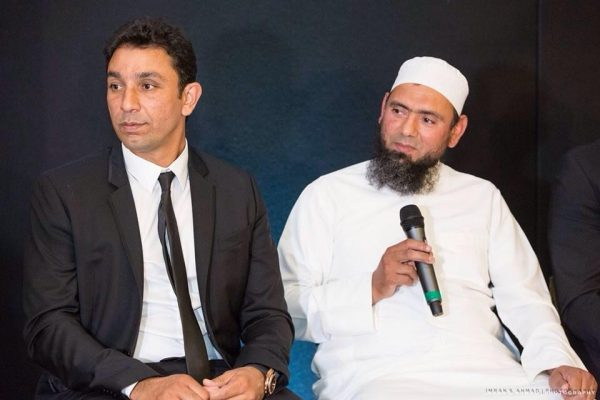 Azhar Mehmood with Saqlain Mushtaq at Azhar Mehmood Academy launch during benefit dinner – Picture courtesy Ebba Azhar