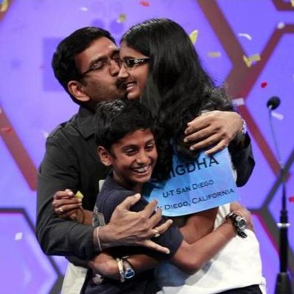 Snigdha Nandipati with father Krishnarao, brother Sujan at 2012 U.S. Spelling Bee