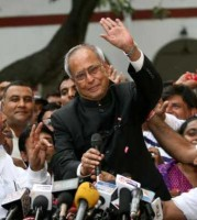 Pranab Mukherjee greeting supporters after being elected new President of India on July 23rd, 2012