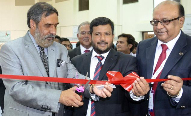 Commerce Minister Anand Sharma and his Sri Lankan counterpart Rishad Bathiudeen inaugurating a stall at the India Show in Colombo on Friday.