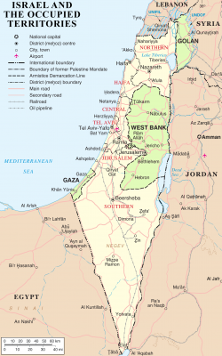 Israel and occupied territories map, Source - Wikipedia