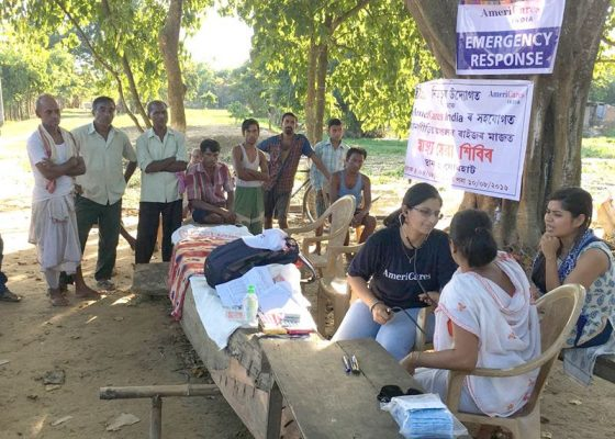 Americares India's Dr. Swati Jha examines a flood survivor in Assam on August 4, 2016. Photo courtesy Americares India