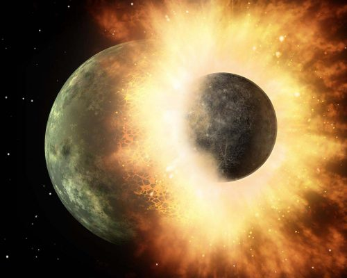 Artist's depiction of a collision between two planetary bodies. Such an impact between Earth and a Mars-sized object likely formed the Moon, credit Wikipedia