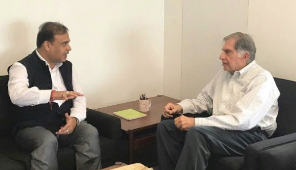 Assam health minister Himanta Biswa Sarma with Indian industrialist Ratan Tata